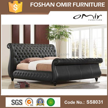 Omir funiture bed furniture Italy design black PU leather bed frame SS8031