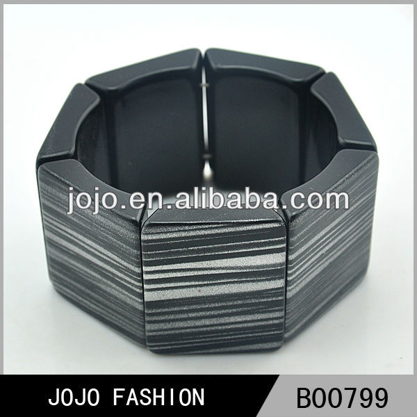 Wholesale cheap newest design arabic bracelet black resin cuff bracelet