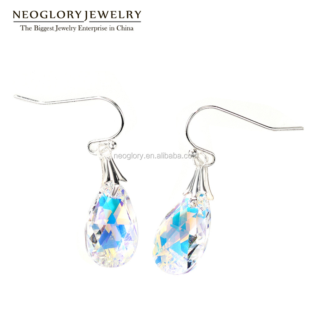 Neoglory Jewelry Dazzling SENSITIVE Crystal Teardrop Earrings Silver Color Plate Made With Swarovski Elements