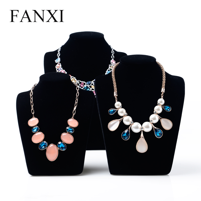 FANXI Chinese Manufacturer Wholesale Shop Black Velvet Jewellery Display Mannequin Necklace Standing Bust Velvet Jewelry Bust