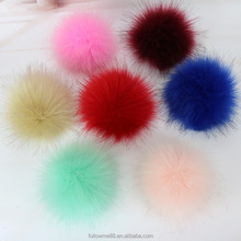Faux Fur Pom Pom Raccoon Fur Ball Puff Ball With Snap Button for beanie knitted hats cap