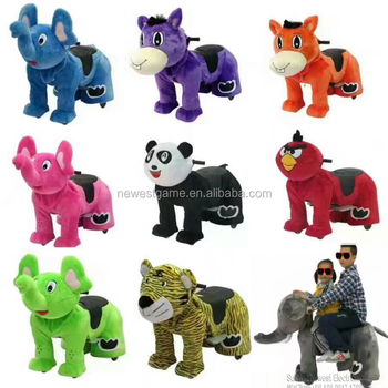 Size M and L Battery Coin Operated Stuffed Plush Walking Animal Rides