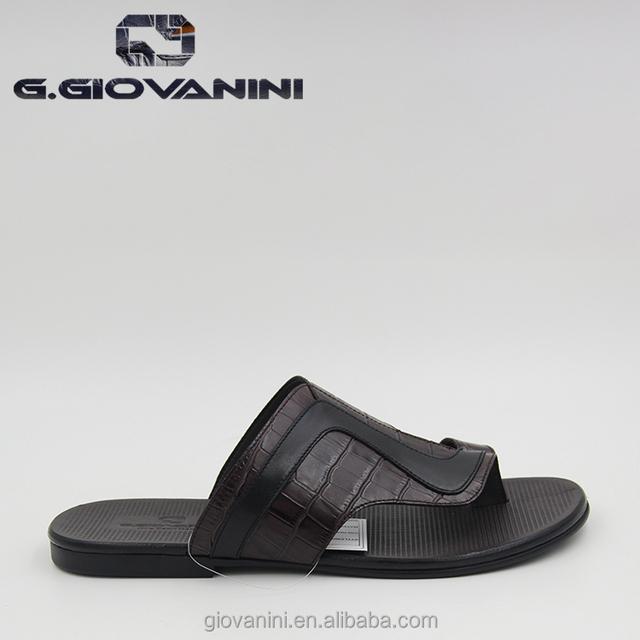 2018 European style Coffee Retro gentleman wax leather slippers Italian fashion design Slipper