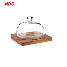 Cake decorating glass bell jar dome cover with wooden base