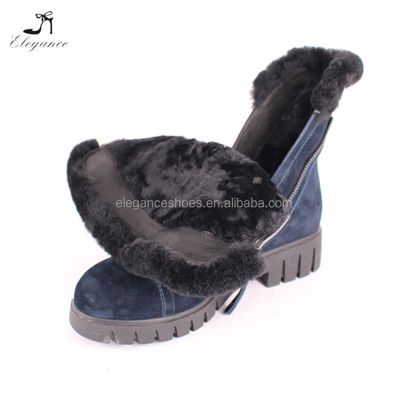 China Warm and Comfortable Ladies Snow Winter Dresses Ankle Boots for Women Fur Plush Inner Low Heel Winter Slip On Booties