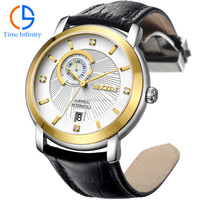 fashion 2015 japan movt 3 atm leather strap luxury watch,no battery automatic watch