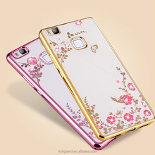 Hot sale dropship luxury secret garden rehinstone soft TPU cover mobile phone case For Huawei P10