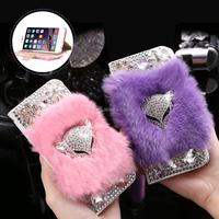 alibaba China wholesale 7 colors available luxury rex rabbit fur mobile phone case for iphone 6