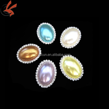 23*30mm colorful pearl rhinestone oval buckles brooch