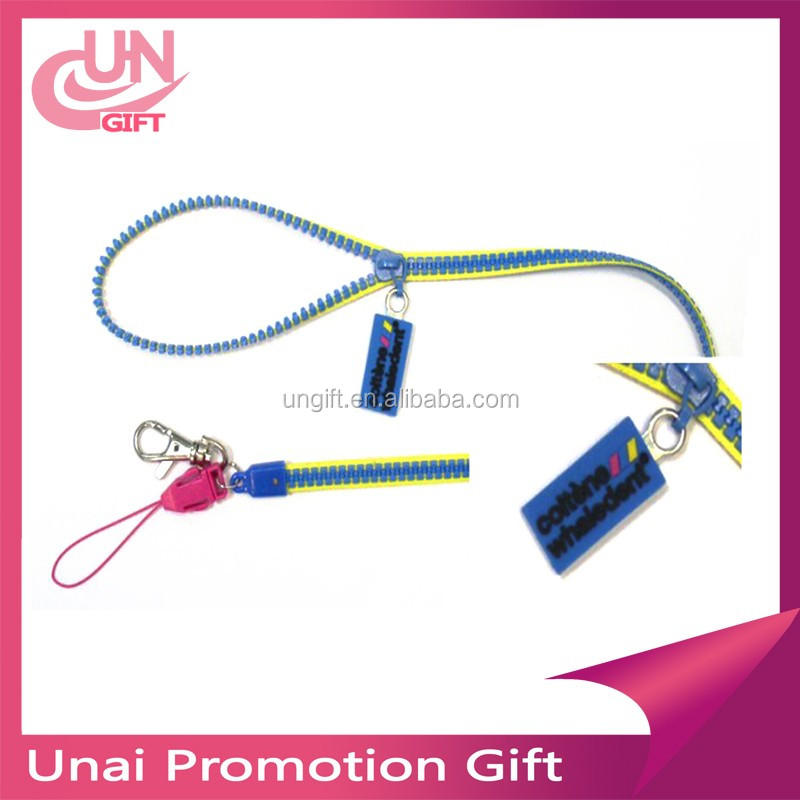 Customized Plastic Zipper Lanyard with PVC Puller