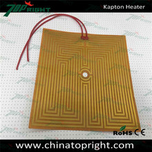 Polyimide film rearview mirror heater and heating element
