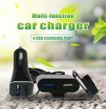 Multi-functional car charger extension wire 4 usb dual port car charger for smartphone