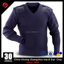 7GG Military 50%Wool 50%Acrylic Army Blue Sweater with Polycotton Patch