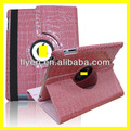 For iPad crocodile pattern 360 rotating leather pu case, stand leather case for iPad2/3/4