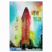 new york building landscape printed fine art canvas roll with glitter