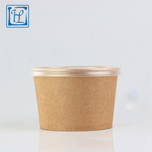 kraft disposable paper bowl with plastic lid