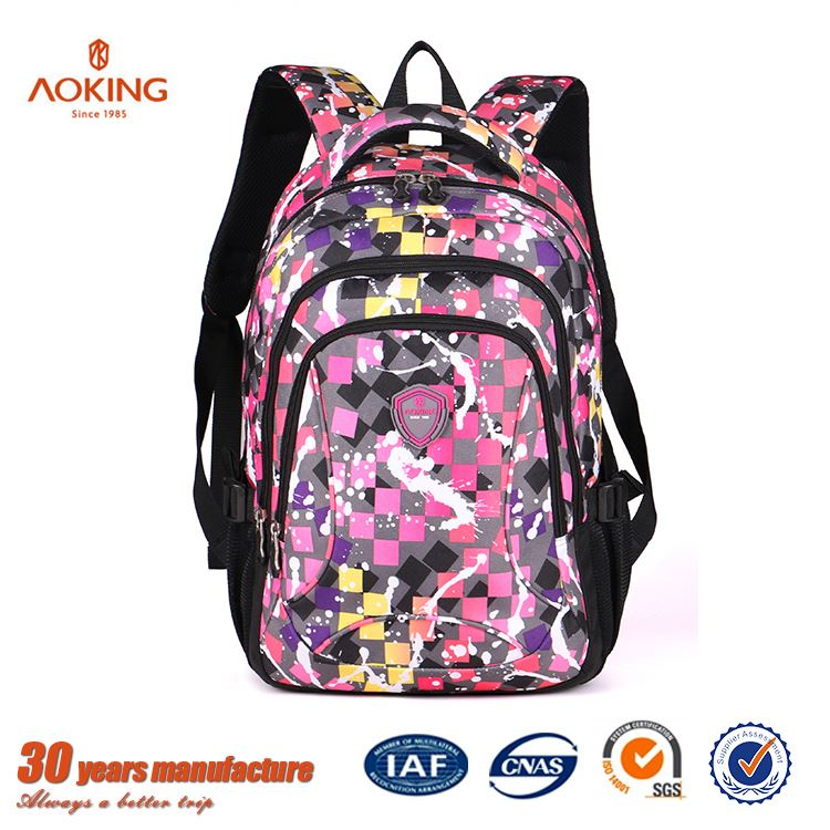 Popular cute polyester Black large capacity second hand school bags/.