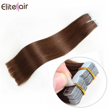 High Quality 100% European Tape Hair Long Lasting Golden Brown Color 4 Tape In Hair Extensions