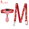 Classic Tree Pattern Nylon Webbing Dog Collar and Leash,with Red Checkered Scarf