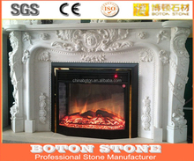 Indoor Luxury Italian Marble Mantel Fireplace Surround Chimneypiece Made of Pure White Marble Constantine Style