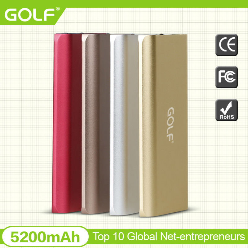 high-end slim golf moblie powerbank phone battery power supply charger 5200mAh mini portable golf mobile powerbank for gift