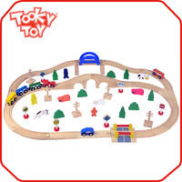 55pcs DIY Babies Play Set Toys Train Railway Sleepers Sale Wooden Craft