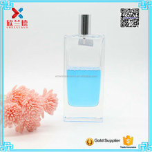 130ml thick base tall rectangle shaped perfume oil glass bottle