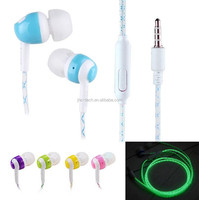 Christmas products Night light subwoofer in ear mic glowing earphone with led lighting