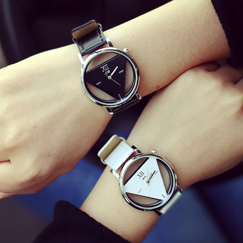 Wholesale China Made Hollow Triangle Watch Mirror Sport Watch Unisex Cute Couple Watch