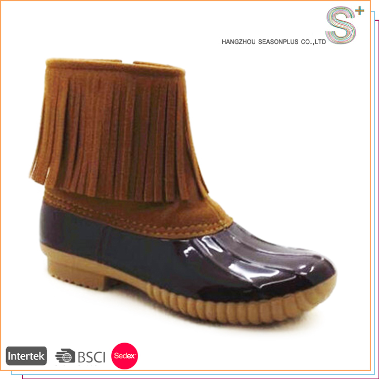 Factory Sale Various Widely Used fashionable rubber duck boots with fringe