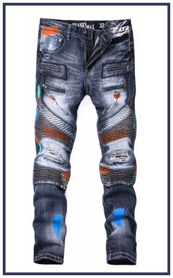Dark Blue Biker Style Boys Damaged Painted Denim Jeans Pants with Color Fade Proof