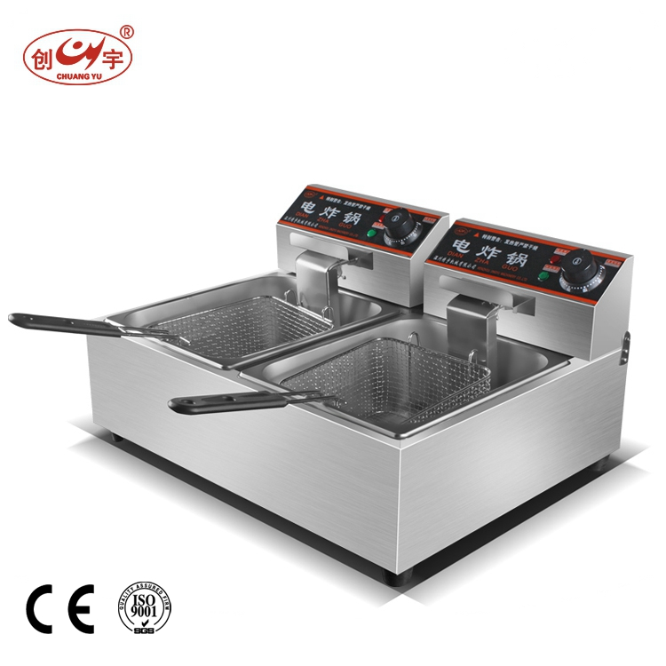 Chuangyu Latest Products Alibaba China Counter Top 2-Tank 2-Basket Electric Deep Fryer Chip Fryer