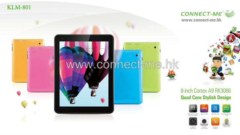 8 inch Cheapest Tablets KLM 801 andriod 4.1,Rockchip 3066 cortex A9,dual core 1.6Ghz