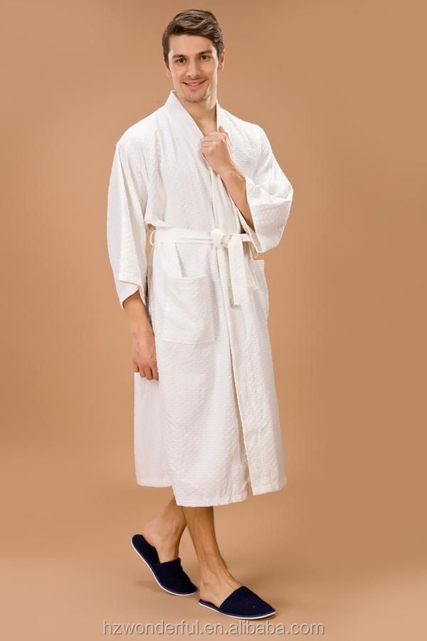 white kimono collar triangle pattern bathrobe contain 65% cotton and 35%polyester