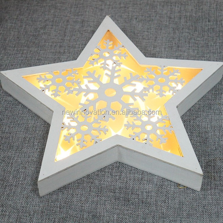 10L Warm white LED wooden Christmas Decoration Star with Carving Pattern and PVC film