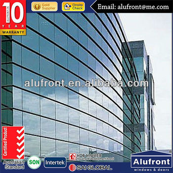 high quality aluminium curtain wall for building with tempered glass