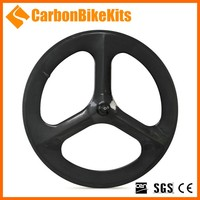 Fashion Cheapest CarbonBikeKits 3SW-T 700C carbon tubular 3 spoke bicycle wheel green