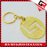 Metal plated gold alloy key chain pendant