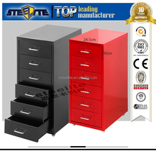 Under Desk Red Color Helmer Mobile 6-Tier Thin Six Drawers Iron Cabinet/Korean popular tall slim 6 layers chest of drawers