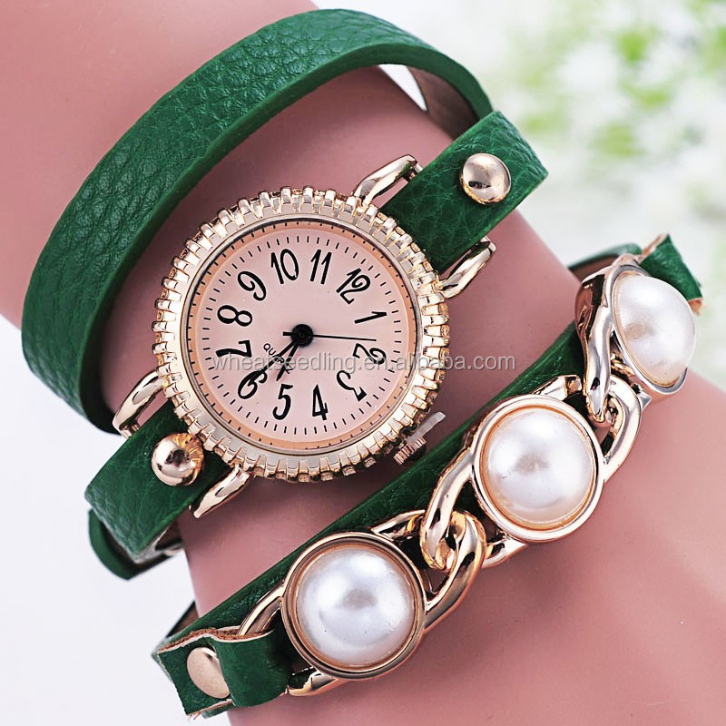 fahion lady /girl learther with pearl wrist watch