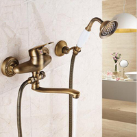 Long Nose Outlet Shower Faucet Brass Bathroom Mixer Single Handle Wall Mounted Bathtub Sink Taps