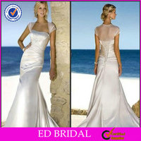 2014 Silver Satin Cap Sleeve Court Train Egypt Thai Celtic Wedding Dresses