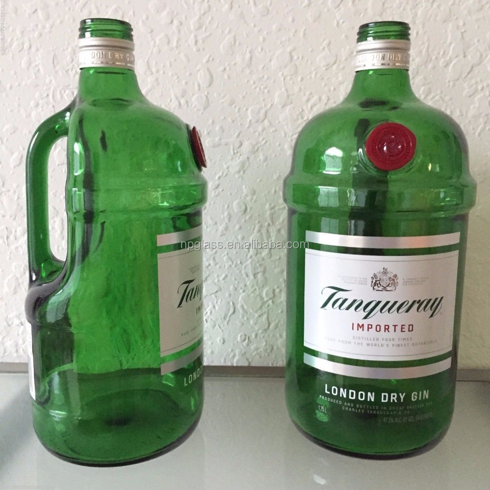 1.75L EMPTY TANQUERAY BOTTLES GREEN GLASS JUGS