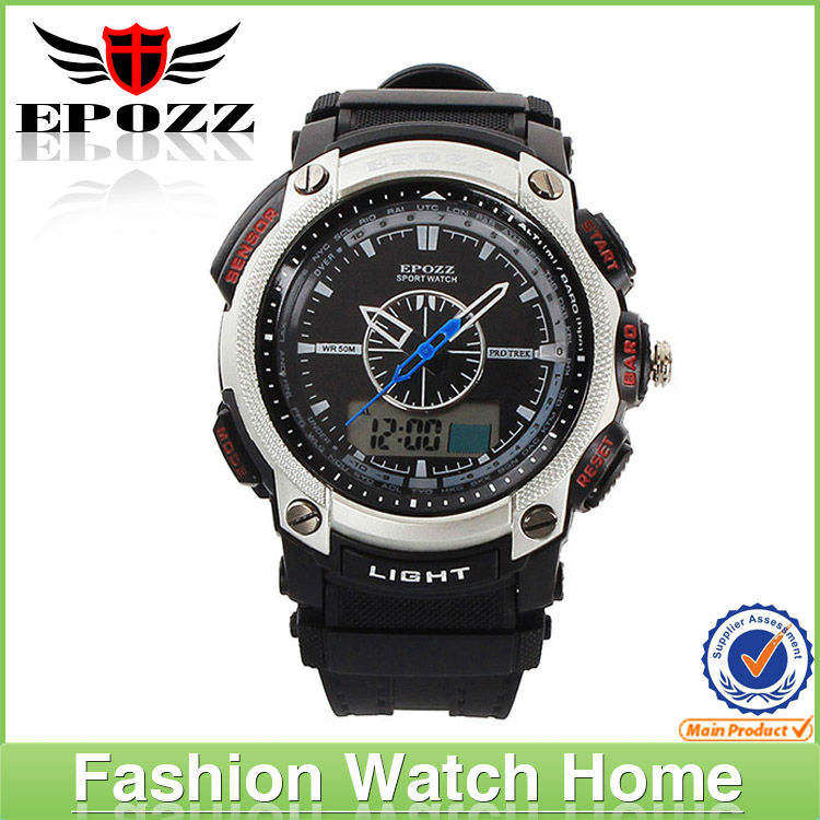 New design new product 50m water resistant sports watch 2013 cool sport watches for men quamer dual time water