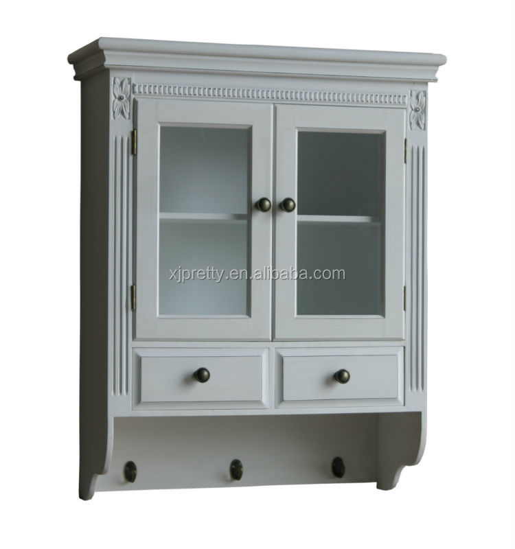 white color wooden wall cabinet/shelf / wooden living room furniture