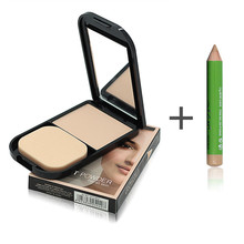 menow Face Foundation Base Makeup Matte Powder Palette + Concealer Pencil Pen + Puff Contour Nude Compact Powder
