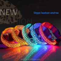Factory Stock Supply Pet Products New Fashion Leopard Dog Collar Led