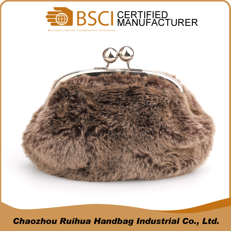 Women's brown faux fur clutch bag fashion evening bag with snap closure