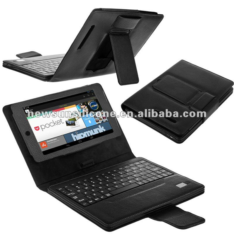High quality detachable bluetooth keyboard leather case for GOOGLE NEXUS 7