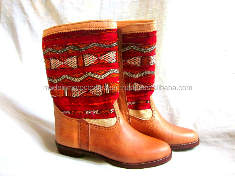 Fashion Moroccan Handmade Genuine Leather Boots with Kilim Rug